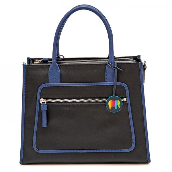 Montreal Leather Grab Handle Bag Black