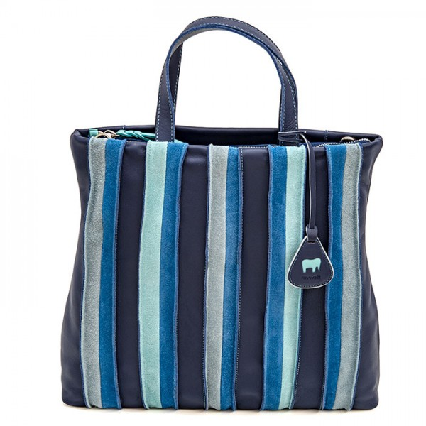 Borsa Shopper Laguna in pelle e camoscio Denim