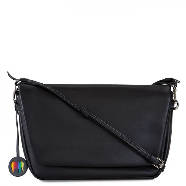 Bruges Flapover Cross Body Black Smokey Grey
