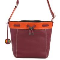 Ancona Small Leather Drawstring Bag Chianti