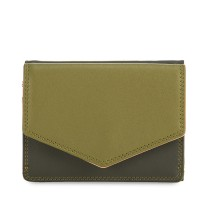 Tri-fold Leather Wallet Olive