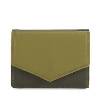 Tri-fold Leather Wallet Olive