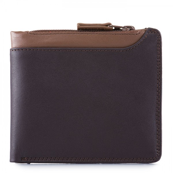 Greenwich Wallet with Middle Zip Section Brown
