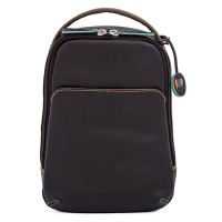 Office Small Leather Cross Body Backpack Mocha
