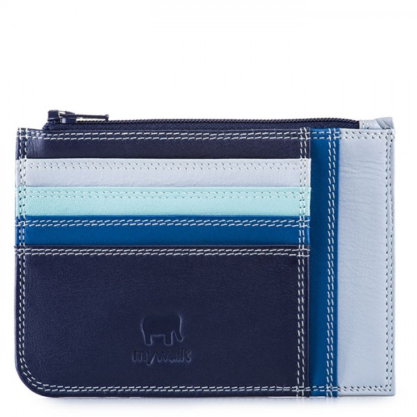 Slim Credit Card Holder with Coin Purse Denim