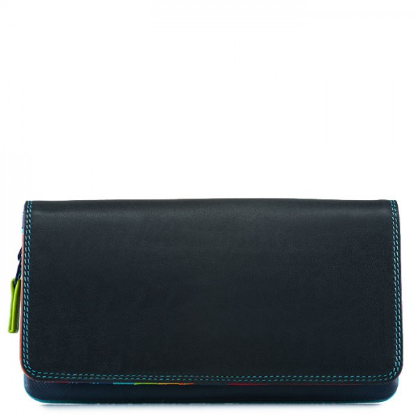 Flapover Wallet with Coin Section Black Pace