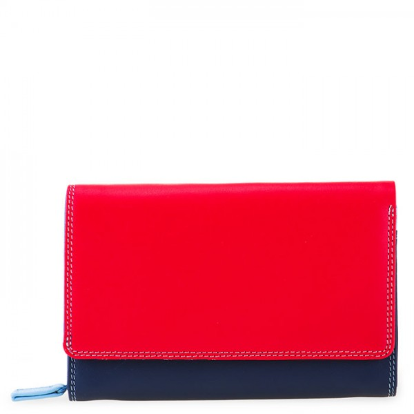 Medium Leather Flapover Wallet Royal