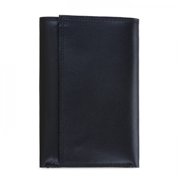Men's Tri-fold Wallet with Zip Black-Blue