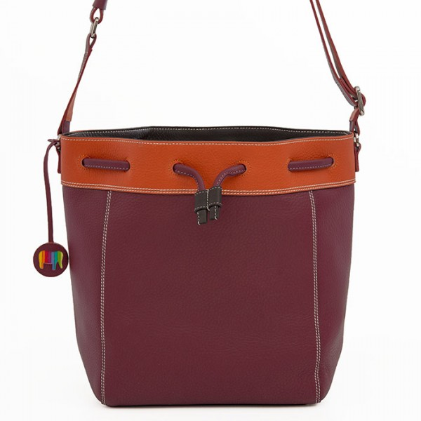 Ancona Large Leather Drawstring Bag Chianti