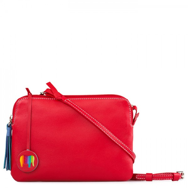 Bruges Double Zip Cross Body Red