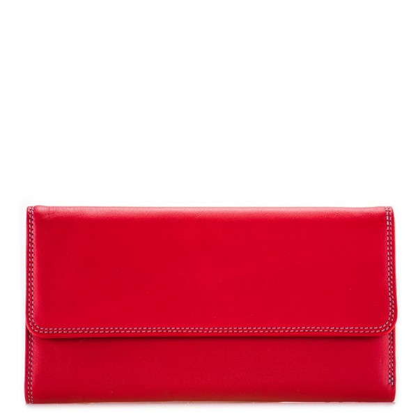 RFID Tri-fold Zip Wallet Red
