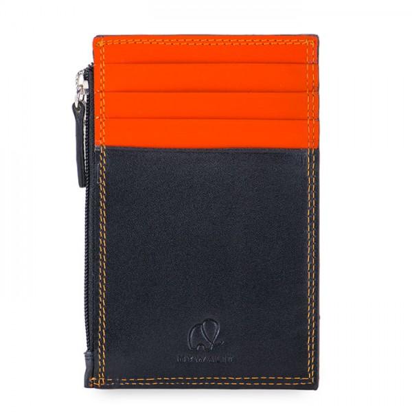 Kreditkartenetui mit Münzfach und RFID-Schutz Schwarz-Orange