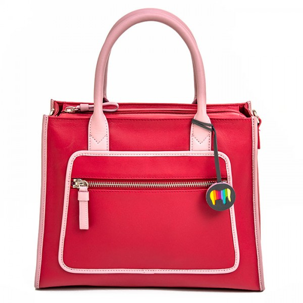 Montreal Leather Grab Handle Bag Strawberry