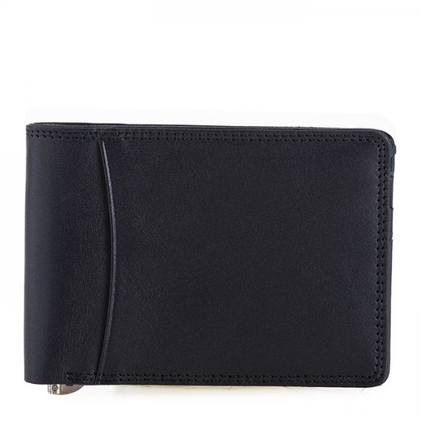 RFID Slim Money Clip Wallet Black-Blue