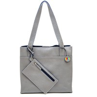 Vancouver Medium Leather Tote Grey