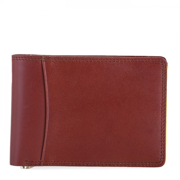 RFID Slim Money Clip Wallet Brown-Yellow