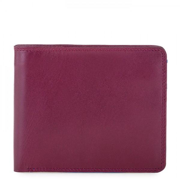 Portafoglio da uomo con portamonete e tecnologia RFID Prugna-Celeste
