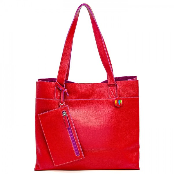 Vancouver Large Leather Tote Red
