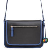 Montreal Small Leather Flapover Bag Black