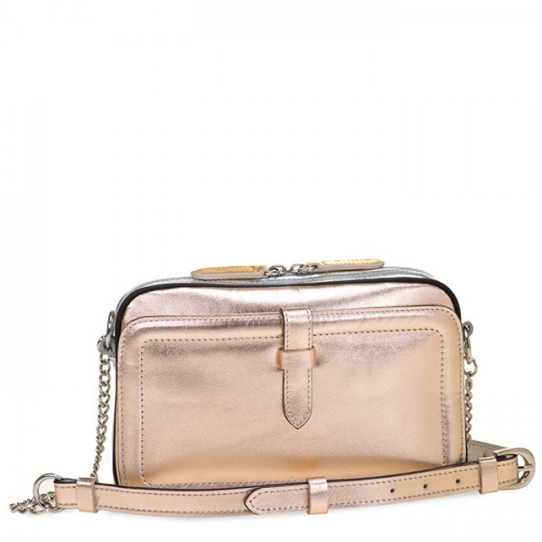 Small Leather Shoulder Bag Silver Rose-Gold