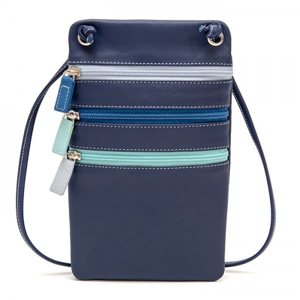 Leather Travel Neck Purse Denim
