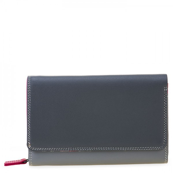 Medium Leather Flapover Wallet Storm