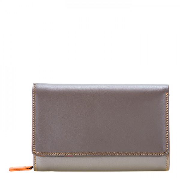 Medium Leather Flapover Wallet Fumo