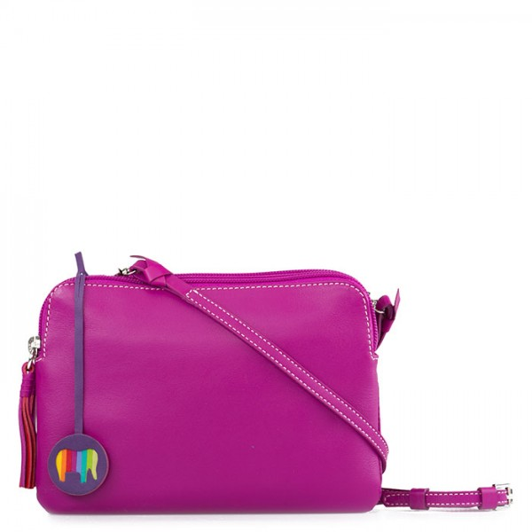 Bruges Double Zip Cross Body Fuchsia