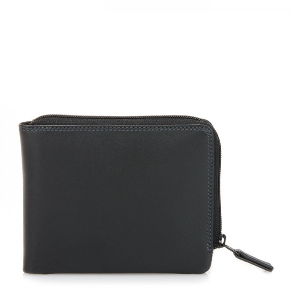 Zip Around Men's Wallet Black Smokey Grey