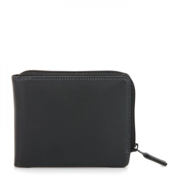 Zip Around Men's Wallet Black Smokey Grey