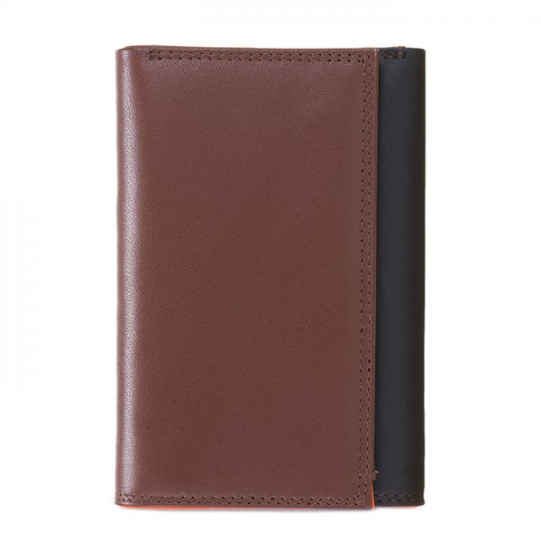 RFID Men's Tri-fold Wallet with Zip Nappa Cacao