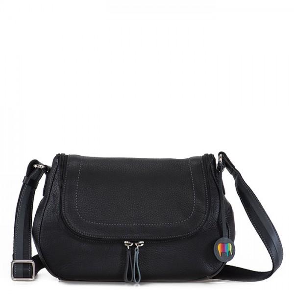 Seoul Scoop Zip Shoulder Bag Black Smokey Grey