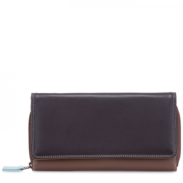 Large Flapover Zip Purse Mocha