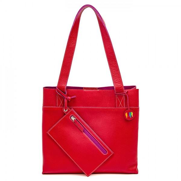 Vancouver Medium Leather Tote Red