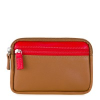 Small Leather Double Zip Purse Caramel