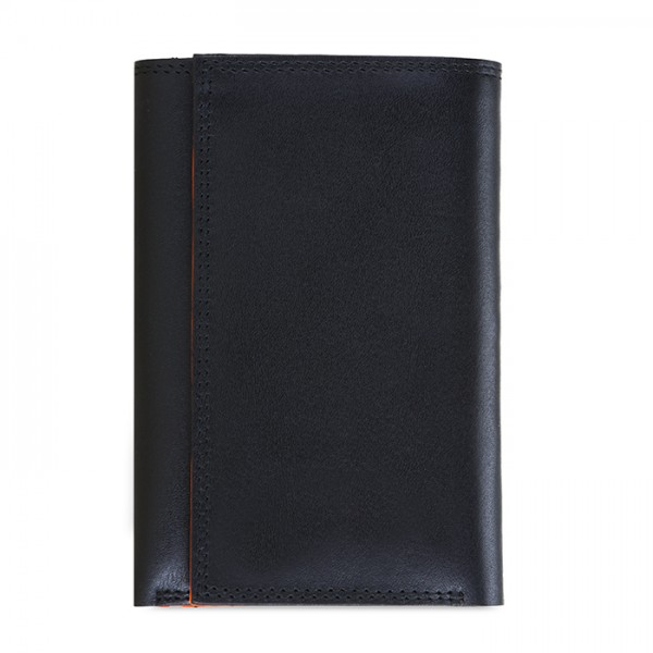 Portafoglio da uomo Tri-fold con zip Nero-Arancione