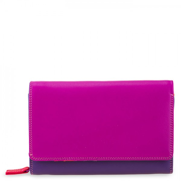 Medium Leather Flapover Wallet Sangria Multi