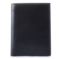 Men's Wallet w/Zip Section Black Smokey Grey