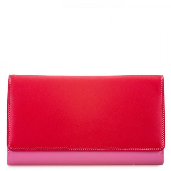 Große Geldbörse mit Umschlagklappe und Reißverschlussfach hinten Ruby