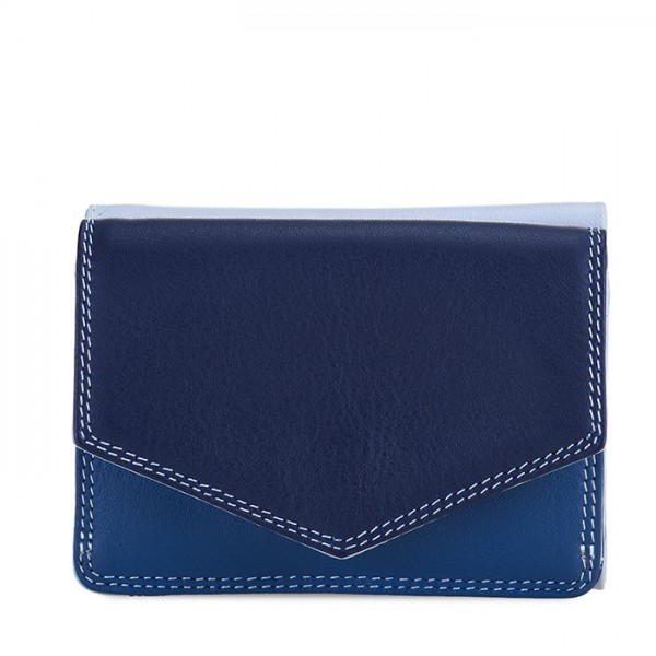 Tri-fold Leather Wallet Denim