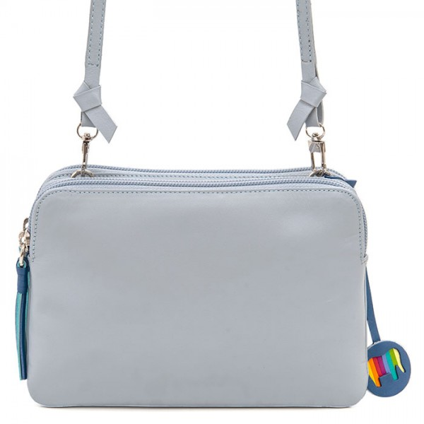 Bruges Double Zip Cross Body Grey