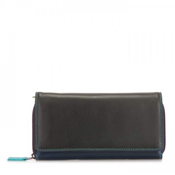 Large Flapover Zip Purse Black Pace