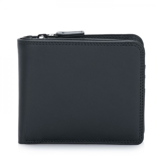 Wallet w/Middle Zip Section Black