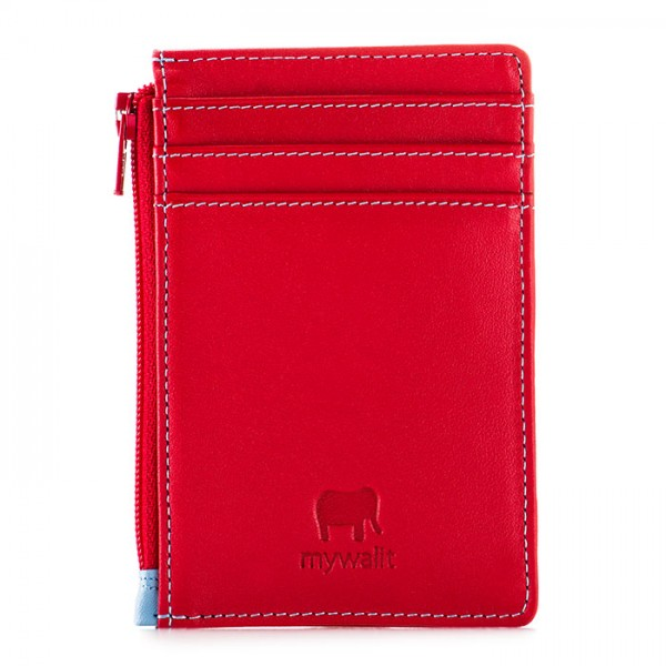 RFID Credit Card Holder with Coin Purse Red