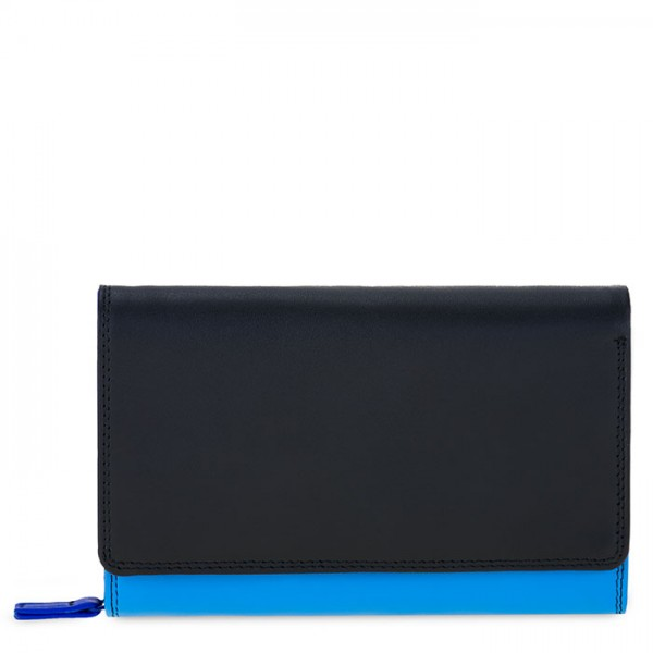 Medium Leather Flapover Wallet Burano