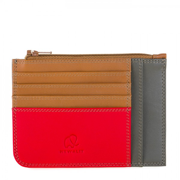 Slim Credit Card Holder with Coin Purse Caramel