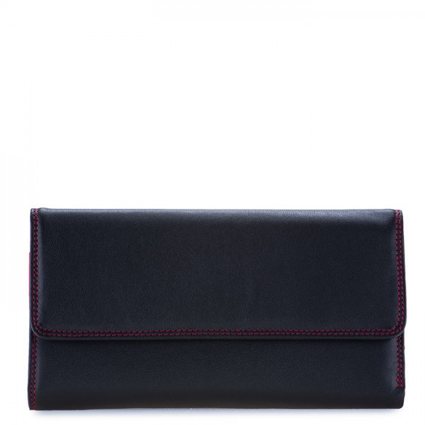 RFID Tri-fold Zip Wallet Black