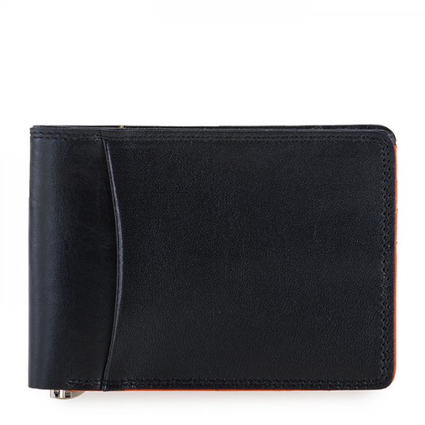 RFID Slim Money Clip Wallet Black-Orange