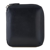 RFID Men's Zip Around Wallet Black-Blue