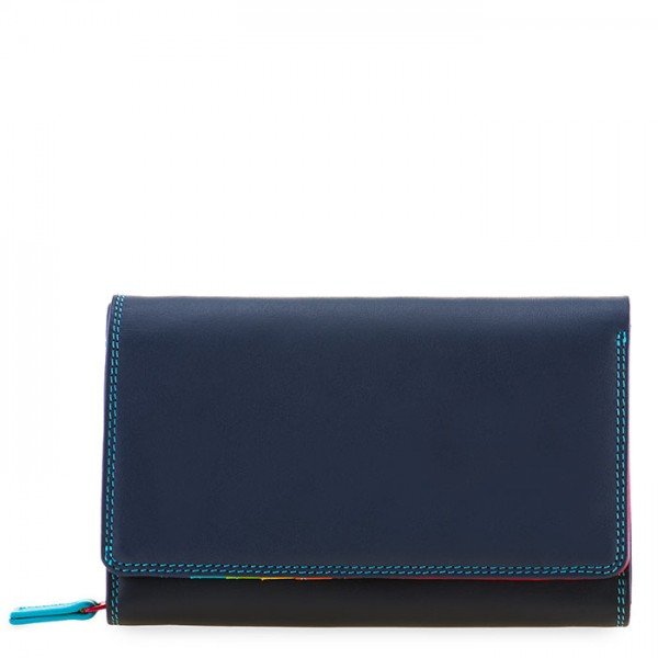Medium Leather Flapover Wallet Black Pace